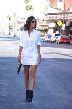 White tunic shirt fab found at marshalls layered over track shorts and open toe booties