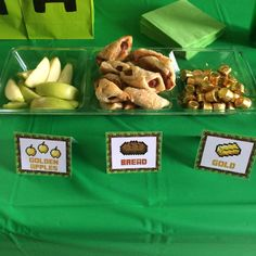 Party food at a Minecraft birthday party! See more party planning ideas at CatchMyParty.com!