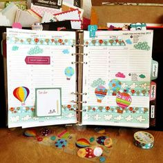 From fb; hot air balloon stickered Filofax planner.