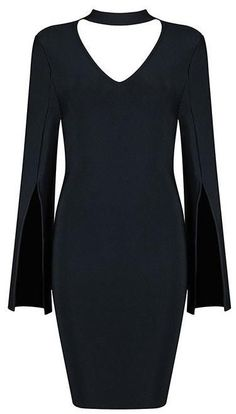 Spit-Flare-Sleeve Bodycon Dress in Black