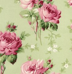 Barefoot Roses Med Rose Green Fabric D1704-408