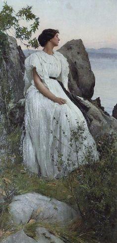 Hiremy-Hirschl, Adolf (b,1860)- Woman Above Sea