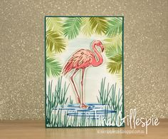 handmade greeting card from Scissors Paper Card ... Fabulous Flamingo ... stamped scene with palm fronds, grasses, water eddies and large flamingo ...  Stampin' Up!