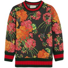 Gucci Floral-print bonded cotton-jersey sweatshirt (€1.070) ❤ liked on Polyvore featuring tops, hoodies, sweatshirts, gucci, sweaters, sweatshirt, jumper, floral sweatshirts, colorful sweatshirts and butterfly print top