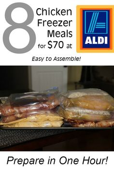 One Hour 8 Chicken Freezer Meals under $70 at Aldi :: 8 easy to assemble chicken meals for your freezer! You can make these dinners in one hour or less at $10 or less per serving! Great way to stock your freezer for winter!