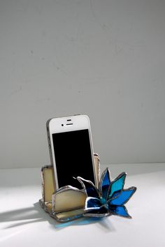 Ivory Stained Glass iPhone Stand Smartphone Stand  by SophieRR, $42.00