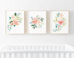 Peaches and Cream 3 Bundle Nursery Art. Nursery Wall Art. Nursery Prints. Nursery Decor. Floral Art. Instant Download.