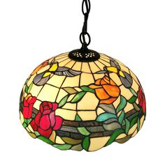 Add warmth to your home decor with this unique Tiffany-style hanging lamp. Spirited hummingbirds flutter in this beautiful garden scene on this multi-colored hanging lamp. This colorful lamp is sure t