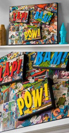 Comic Book Craft: DIY Superhero Canvas - Mod Podge Rocks Use comic books (or color copies!) and Mod Podge to make this DIY superhero canvas craft – a grea Comic Book Crafts, Comic Books, Comic Book Rooms, Comic Movies, Superhero Canvas, Superhero Party, Superhero Room Decor, Superhero Bathroom, Superhero Cosplay