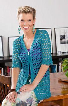 Warm Weather Jacket. Aunt Lydia's Fashion Crochet (size 3) fingering weight, F hook.