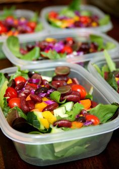 Choose ones that are flat and rectangular in shape. These not only stack well in your fridge, but they also create more space for the veggies to spread out, preventing sogginess.   Start with the greens. To save time, pick up a package of prewashed salad greens. If you're using greens from your garden or a farmers market, just make sure they're completely dry before packing. Fill the container about three-quarters full of greens (about two to three cups).  Add the veggies, beans, and fruit…