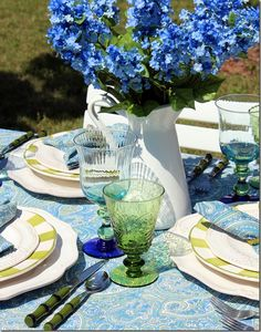 Blue/Green Tablescape