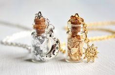 Sun and Moon vial necklaces, two bottles jewelries, glass, Gold and silver necklaces, charm, best friends gift, BFF
