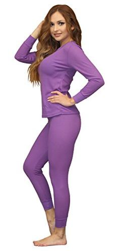 Women's Soft 100% Cotton Waffle Thermal Underwear Long Johns Sets (Large, Purple) *** Check this awesome image @