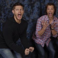 Jared and Jensen doing fangirl impersonations xD