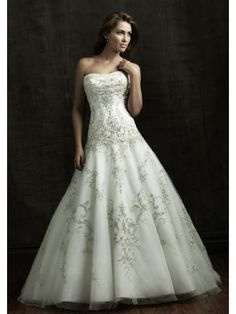 A-Line Strapless Chapel Trailing Tulle With Embroidery Royal Wedding Dresses $289.99 Wedding Dresses 2014