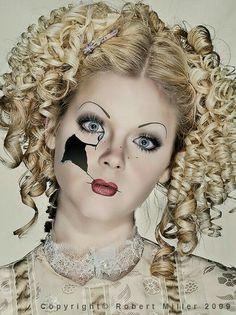 Great make-up for Halloween. Broken Porcelain Doll.