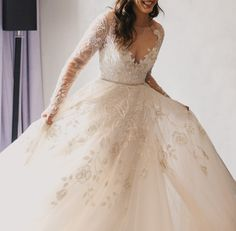 Hayley Gown by Hayley Paige Ivory long sleeve rococo bridal gown, beaded and embroidered bodice with illusion bateau neckline and V-neck front, fu...