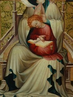 "AUTRICHE 15e - La Vierge à l'Enfant à l'Ecritoire (Louvre) - Detail 038  -  TAGS/ details détail détails detalles painting peintures ""peinture 15e"" ""15th-century paintings"" people Virgin Madonna Madone ""Holy Spirit"" ""Esprit saint"" people woman women ""jeune femme"" ange angel pose model portrait portraits face faces visage femme Jésus Jesus boy ""little boy"" Child ""little boy"" ""petit garçon"" portrait kid kids trône throne Museum Paris Austria ""writing box"" ""Moyen Âge"" ""Middle age"" lesson leçon"