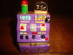 Casino Ceramic Hinged Trinket Box Slot Machine