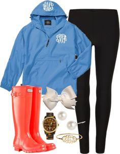"""""""Rain"""" by classically-preppy ❤ liked on Polyvore Love the red hunter boots and the monogrammed rain jacket!!!!"""