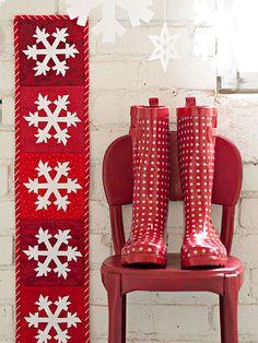red + white rain boots