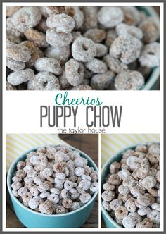 Cheerios Puppy Chow (Muddy Buddies) - The Taylor House Puppy Chow Recipes, Snack Mix Recipes, Dessert Recipes, Cooking Recipes, Snack Mixes, Dessert Ideas, Easy Recipes, Cereal Treats, Cheerio Treats
