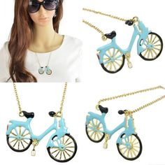 Lady girls enamel bicycle pendant long #necklace sweater #chain #women jewelry q8,  View more on the LINK: http://www.zeppy.io/product/gb/2/221970346358/