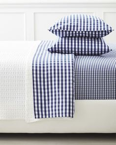 A classic pattern in a classic color palette Gingham Sheet Set in Midnight via Serena & Lily Classic Color Palette, Gingham Sheet Set, Gingham Sheets, Classic Pattern, Pillow Cases, Bed, Gingham, Luxury Bedding, Designer Bedding Sets