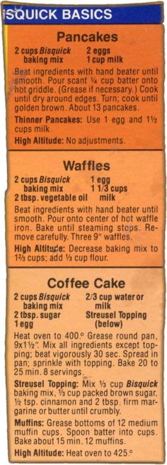 3 Bisquick Box Recipes cut out by Memere. Click on the recipes for a larger view.