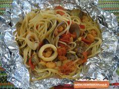 Gustosi e facili da preparare questi spaghetti alla pescatora cotti al cartoccio !