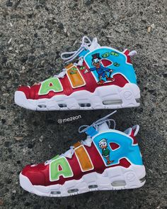 This Custom shoe was Done By ?If you are interested in this shoe please Custom Sneakers, Custom Shoes, Nike Custom, Nike Air Shoes, Sneakers Nike, Fashion Boots, Sneakers Fashion, Nike Air Uptempo, Nike World