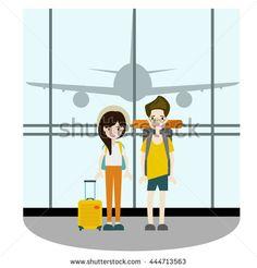 Couple traveler take a photo at terminal vector/ Illustration
