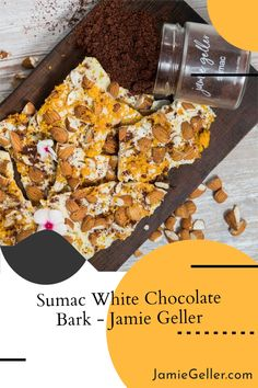 This simple white chocolate bark is the perfect light treat after a heavy meal. The unique combo of nuts, orange zest and citrusy sumac will make everyone say WOW!Tip: For extra flavor toast and salt the almonds before using. #5ingredients #glutenfree #Chocolatebark White Chocolate Bark, Melting Chocolate, Food Terms, Passover Desserts, Jewish Recipes, Orange Zest, Almonds, Glutenfree, Spice