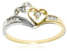 14k Two-Tone Diamond Heart Ring (1/10 cttw, H-I Color, I2 Clarity) Wedding Ring Finger REVIEW