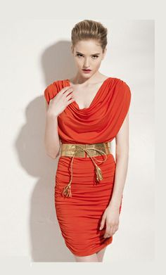 Sexy changeable roman collar shoulderless pleated dress, one of the best dress from ahai shopping