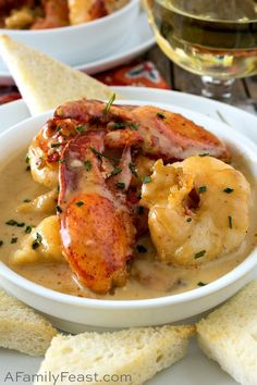 Lobster Newberg has chunks of tender lobster meat in a rich and decadent cognac-cream sauce, served with toast points. It's outstanding! chicken recipes dinners,cooking and recipes Lobster Dishes, Lobster Recipes, Fish Dishes, Seafood Dishes, Fish Recipes, Seafood Recipes, Soup Recipes, Great Recipes, Cooking Recipes