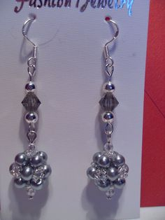 Grey Beaded Earrings by SparklingJewelryShop on Etsy, $10.00