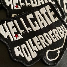 Check out these amazing patches we made for Hellgate Rollerderby! Custom Patches, Embroidery Stitches, Vans, Sneakers, Amazing, Check, Prints, How To Make, Etsy
