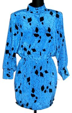 Blue and black printed Dolman Sleeve mini dress via Etsy - m.v.c. by Misty Chanel