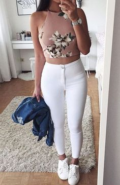 OMG the nude cute crops and white skinnies | Jewelry Necklaces Bracelets Earrings Rings Jewelry Sets Hair Jewelry Watches Key Chains & Brooches Body Jewelry, dress, clothe, women's fashion, outfit inspiration, pretty clothes, shoes, bags and accessories