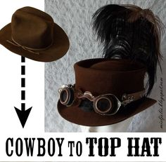 All Things Crafty: Another Cowboy Hat into Steampunk Top Hat  Wool hats dye great with Dharma Acid Dye!  http://www.dharmatrading.com/dyes/dharma-acid-dyes.html?lnav=dyes.html