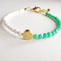 Gold Dot - Friendship Beaded Bracelet, Turquoise, White