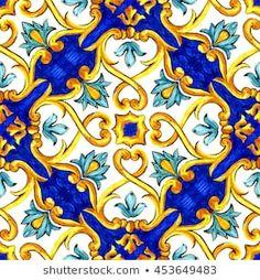 ornament on Italian tiles, majolica, cyan, outline, seamless Geometric Patterns, Tile Patterns, Pattern Art, Diy Sticker, Tile Stickers Kitchen, Italian Pattern, Italian Tiles, Tuile, Illustration