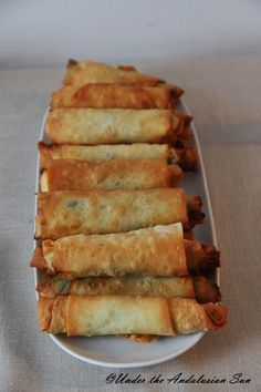 Sigara börek - Turkish filo pastry parcels with spinach and feta cheese