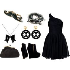 black, created by #drue-young on #polyvore. #fashion #style Halston Heritage #Chanel