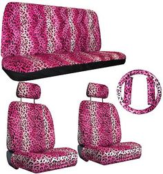 Pink Black Leopard Car SUV Truck Seat Covers Accessories 3