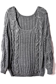 ROMWE | Cable Kintted Loose Grey Jumper, The Latest Street Fashion #fashion #streetstyle