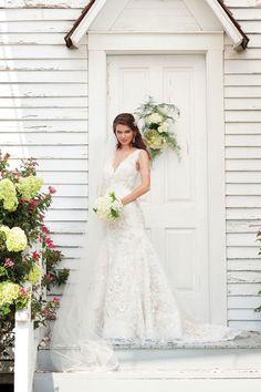 Gorgeous v-neck A-line chapel train bridal gowns