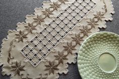 Items similar to Hardanger Doily Centerpiece - Brown on Mushroom Colored Fabric with Cut Out Detail on Etsy Drawn Thread, Thread Work, Hardanger Embroidery, Bargello, Needful Things, Doilies, Needlework, Centerpieces, Stuffed Mushrooms